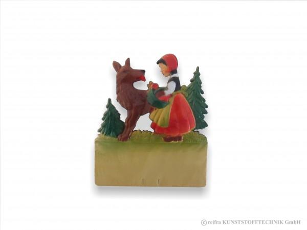 Kalenderrückwand geprägt Rotkäppchen und Wolf