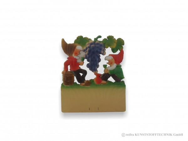 Kalenderrückwand geprägt Zwerge mit gr. Weinrebe