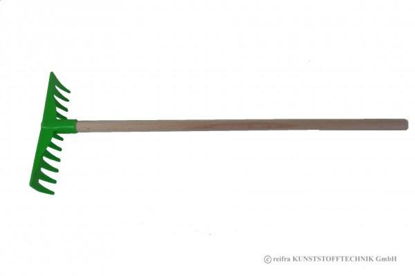 Rechen grün mit Holzstiel