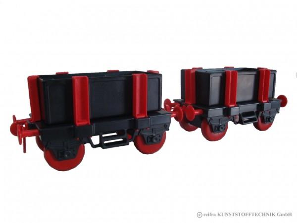 Waggons für Kindereisenbahn, schwarz/ rot