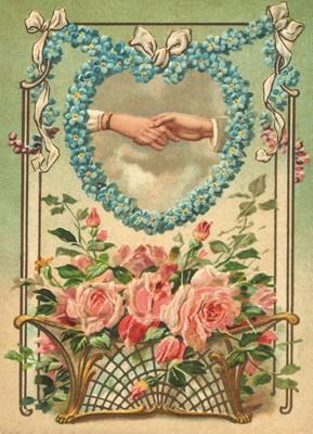 nostalgische Präge - Postkarte - Hände im Blumenhe