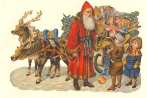 Aufstellschmuckkarte Weihnachtsmann mit Kindern