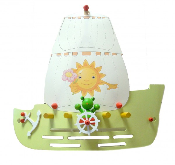 Wandleuchte Segelschiff lindgrün/gelb1-flg.- Kinde