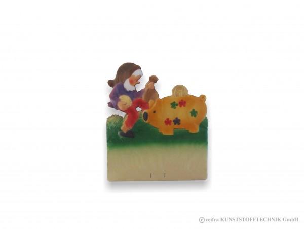 Kalenderrückwand geprägt Zwerg mit Sparschwein