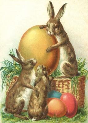 nostalgische Präge - Postkarte - 3 Hasen mit  Eier