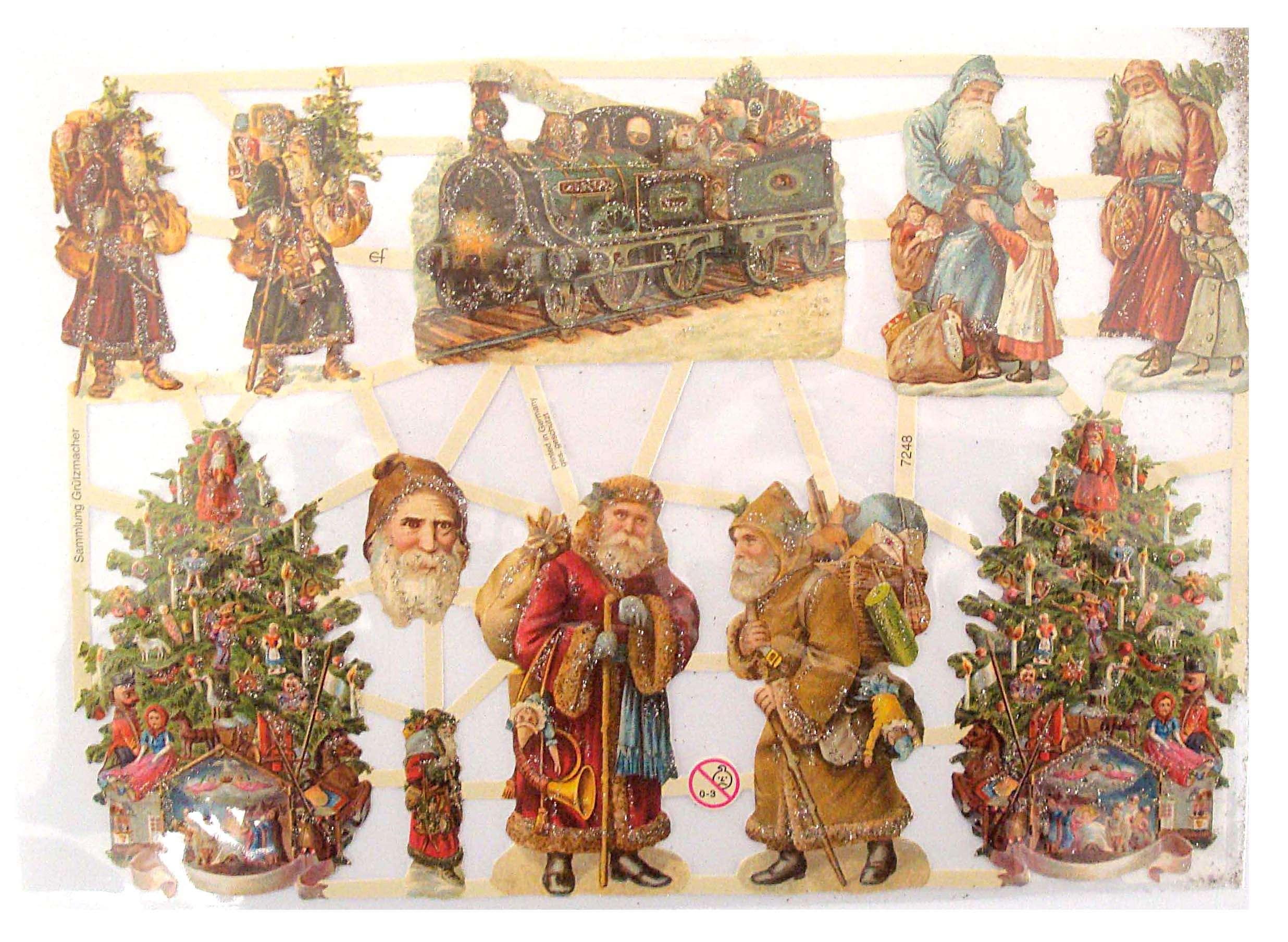 Nostalgische Weihnachtsmotive.Glanzbilder Weihnachtsmotive Silber Glitter