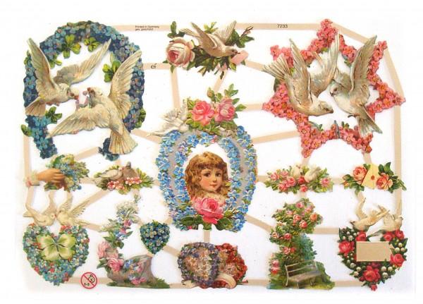 Glanzbilder, Tauben und Blumen