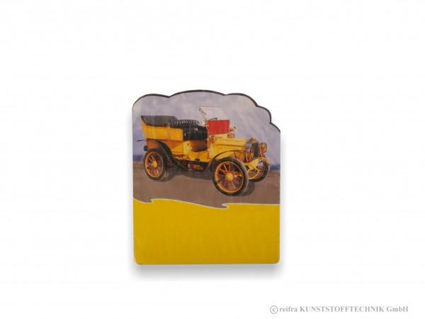 Kalenderrückwand gedruckt Oldtimer gelb