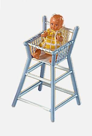 Plastik-Hochstuhl  mit Puppe