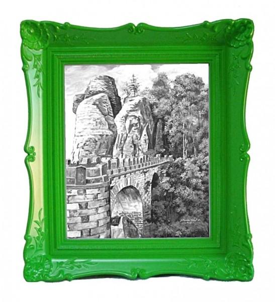 """Bilderrahmen """"Antik"""", grün, Motiv Basteibrücke"""