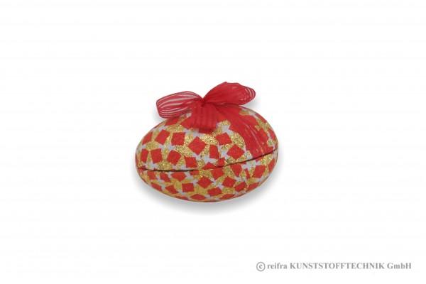 Osterei im Beutel, Viereckmuster rote Schleife