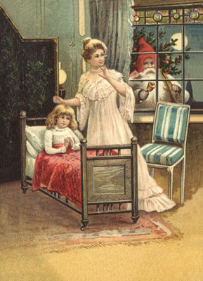 nostalgische Präge - Postkarte - betendes Kind im