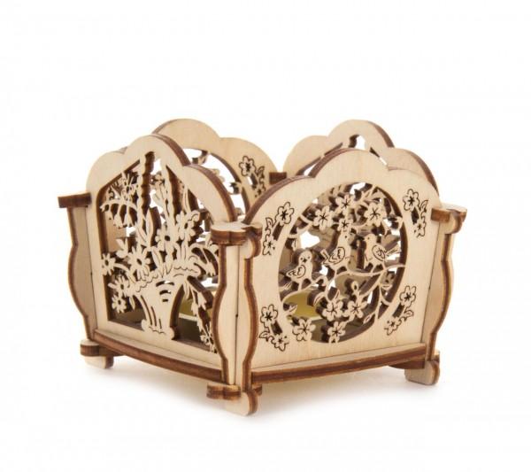 Bastelsatz Teelichthalter Motiv Vögel und Blumen