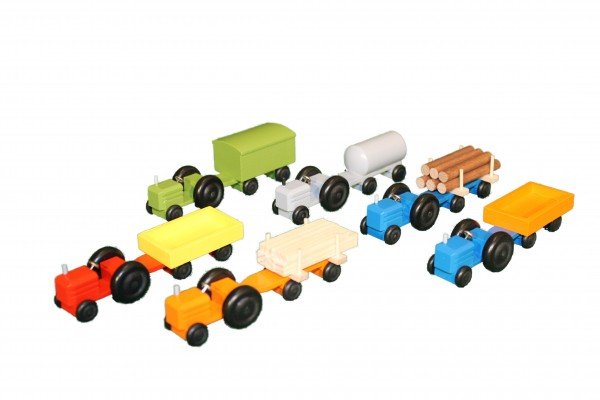 Mini-Traktor farbig Langholz