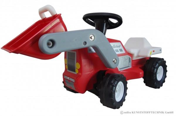 Babyrutscher Traktor mit Frontschaufel, rot
