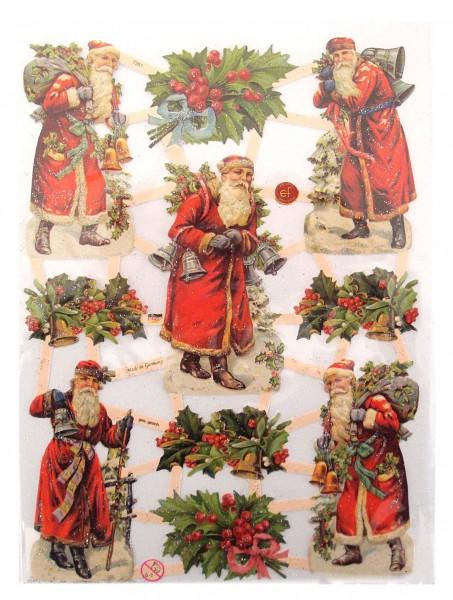 Glanzbilder, Weihnachtsmann, silber Glitter