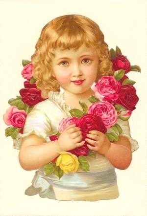 Aufstellschmuckkarte Mädchen mit Blumenkranz