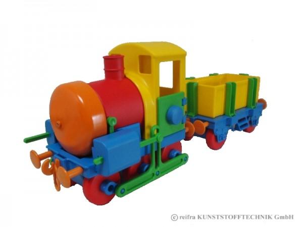 Kindereisenbahn bunt in Geschenkverpackung