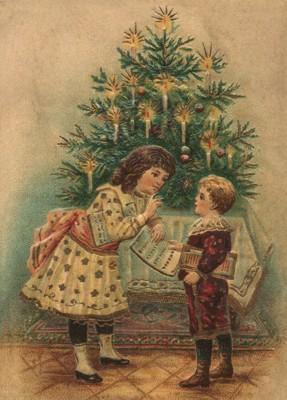 nostalgische Präge - Postkarte - Mädchen + Junge v