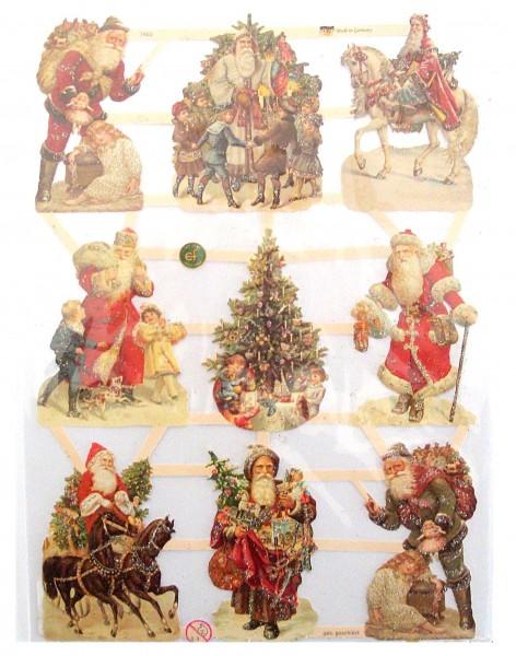 Glanzbilder, Weihnachtsmänner, silber Glitter
