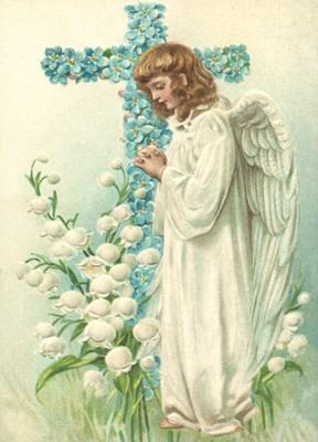 nostalgische Präge - Postkarte - betender Engel mi