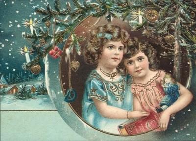 nostalgische Präge - Postkarten - 2 Kinder im Rahm