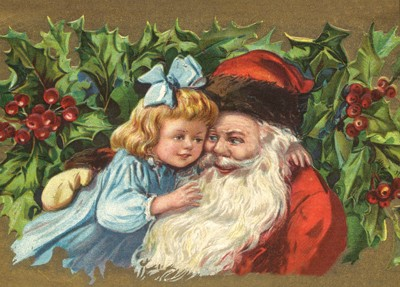 nostalgische Präge - Postkarte - Weihnachtsmann mi