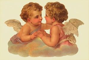 Aufstellschmuckkarte zwei Engel