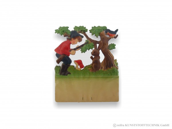 Kalenderrückwand geprägt Jäger, Hase und Vogel