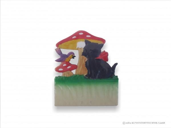 Kalenderrückwand geprägt schwarze Katze unter Pilz