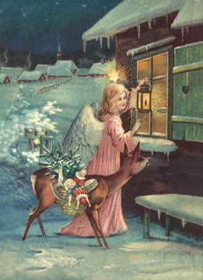 nostalgische Präge - Postkarte - Engel mit Reh vor