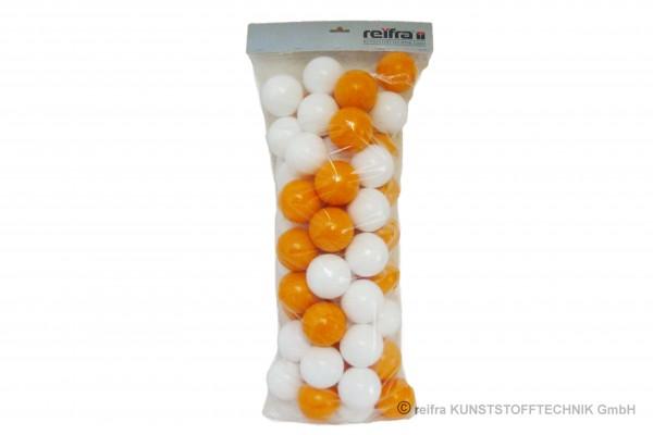 Sortiment Bälle, 60 Stück in orange/weiss