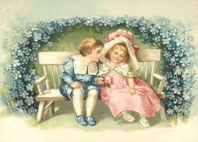 nostalgische Präge - Postkarte - Verliebte umgeben