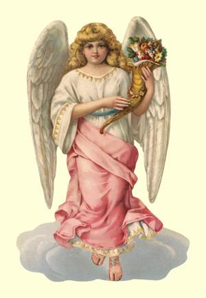 Aufstellschmuckkarte rosa Engel auf Wolke