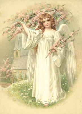 nostalgische Präge - Postkarte - Engel mit blühend