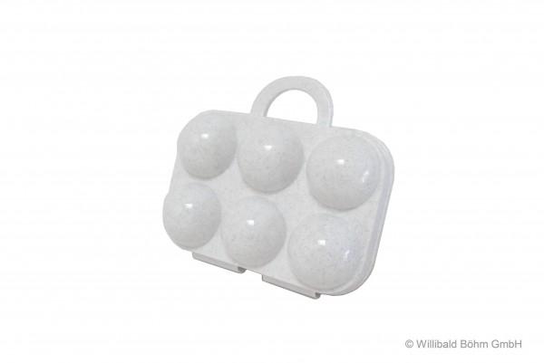 Eierträger 6-fach, granit-weiß