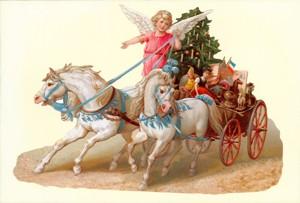 Aufstellschmuckkarte Engel mit Wagen