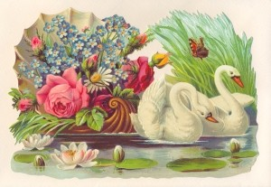 Aufstellschmuckkarte Schwan mit Blumen