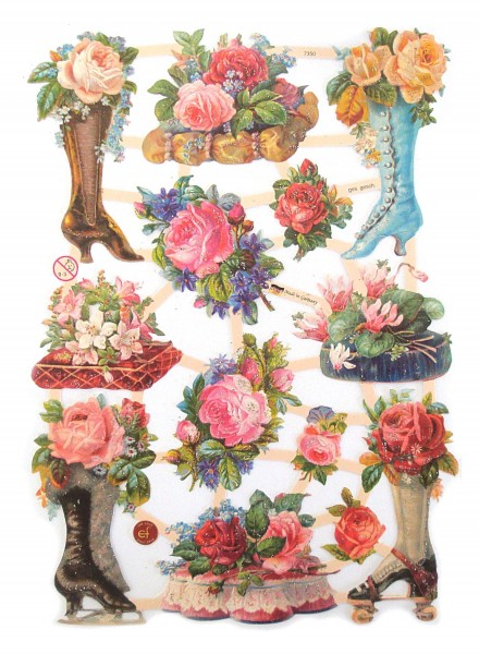 Glanzbilder, Rosen im Stiefel