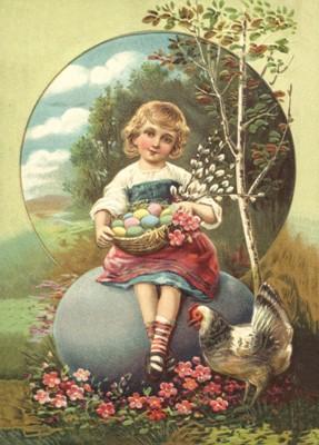 nostalgische Präge - Postkarte - Mädchen auf dem E