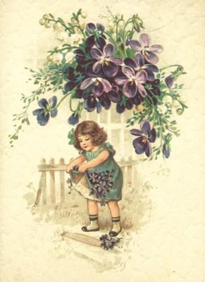 nostalgische Präge - Postkarte - Mädchen mit Veilc