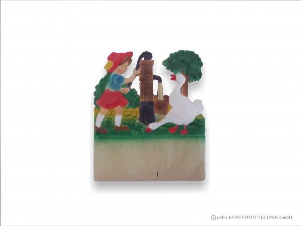 Kalenderrückwand geprägt Mädchen pumpt Wasser