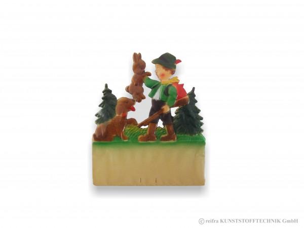 Kalenderrückwand geprägt Jäger hält Hase mit Hund
