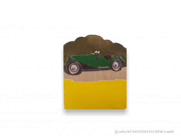 Kalenderrückwand, gedruckt Oldtimer grün