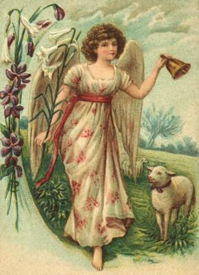 nostalgische Präge - Postkarte - Engel mit Glocke,