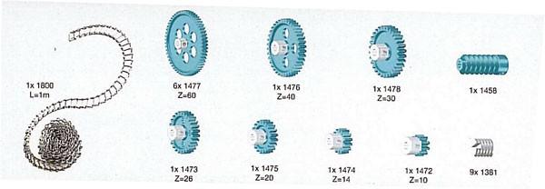 Zahnradsortiment M1 mit Kette