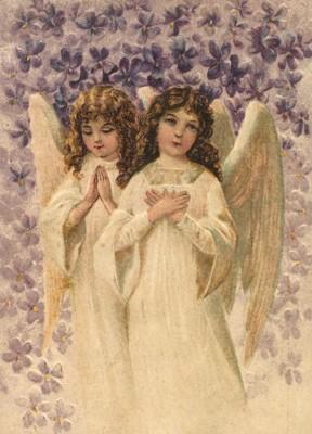 nostalgische Präge - Postkarte - 2 betende Engel i