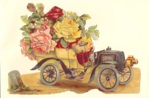 Aufstellschmuckkarte Automobil mit Blumen