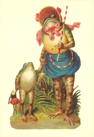 Aufstellschmuckkarte Froschmama mit Kind