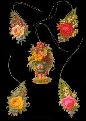 Geschenkanhänger Blumen in Farn